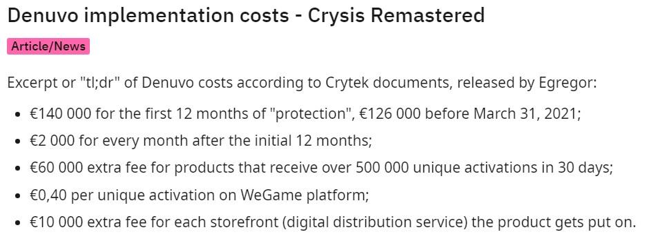 """D加密""""保护费""""泄露:《孤岛危机:重制版》第一年需花14万欧元"""