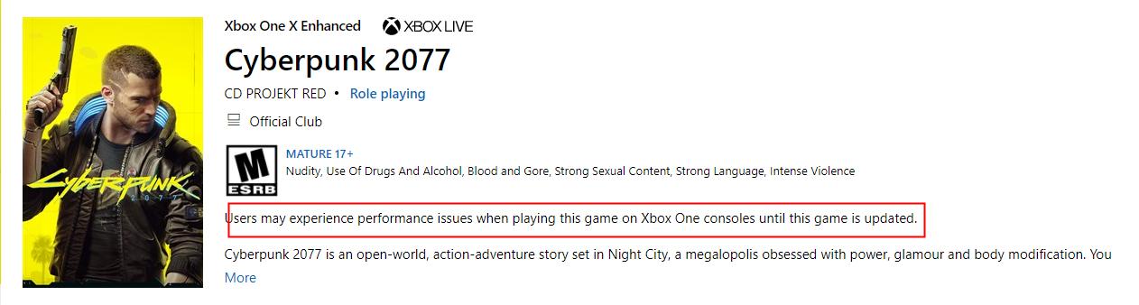 《赛博朋克2077》Xbox版没有下架 仍然可以购买