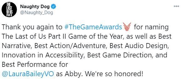 顽皮狗发布贺图 感谢TGA颁发给《最后生还者2》的奖项